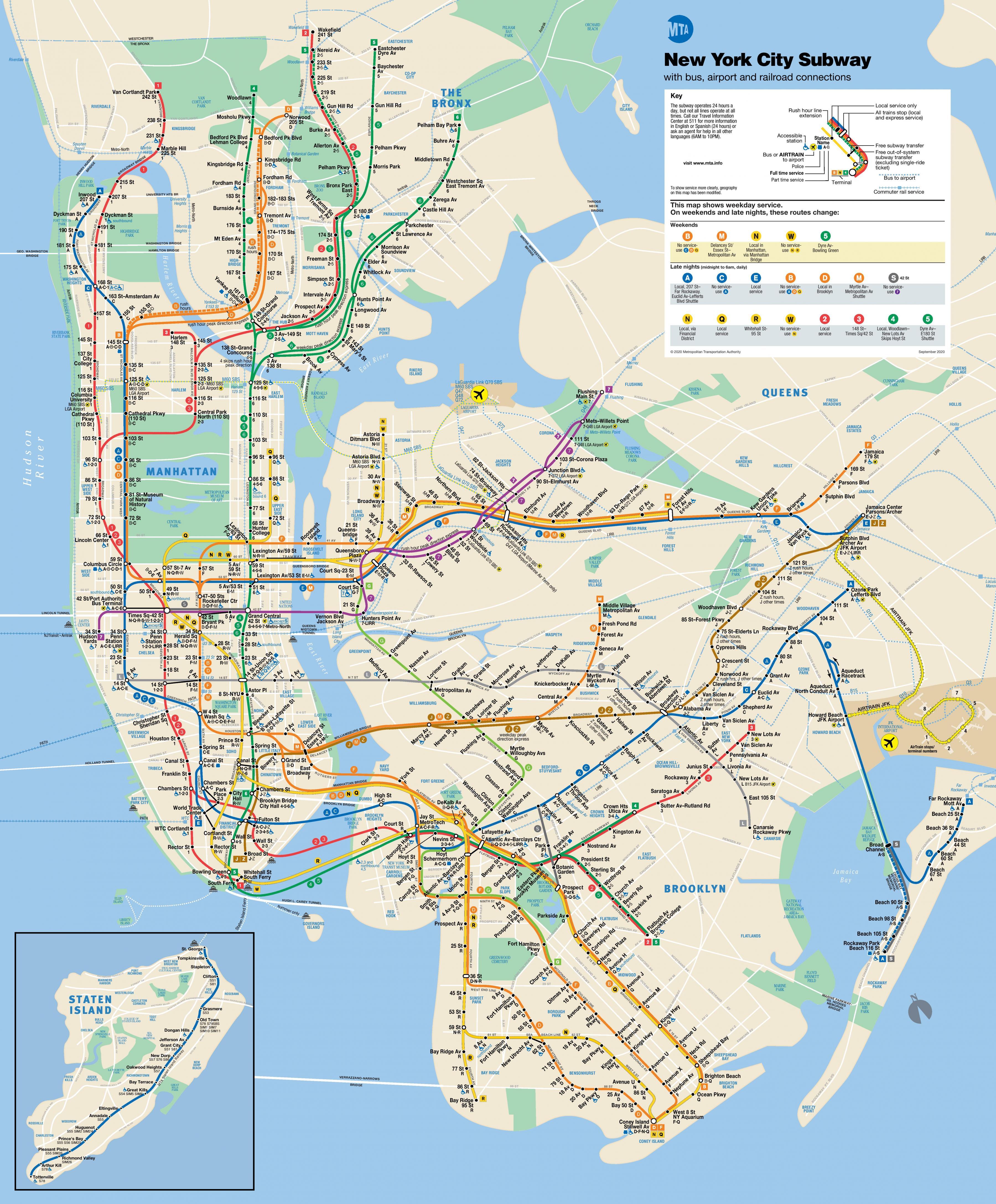 New York Subway Kort Med Gader New York Street Kort Med Metro